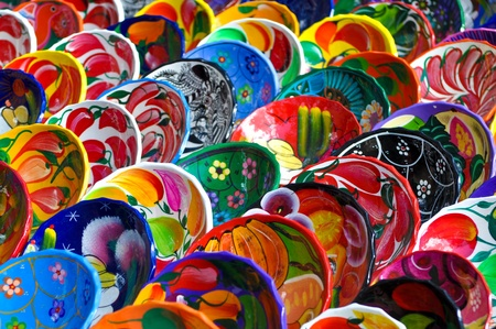 Colorful Mayan Bowls for Sale Stockfoto