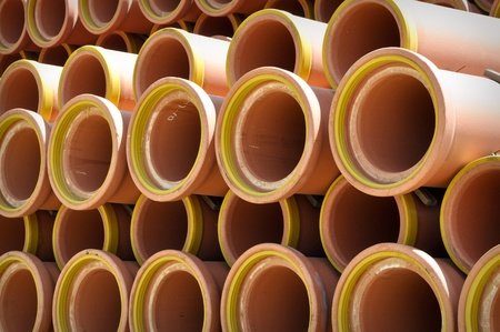 Ceramic Sewer Pipes Stock Photo