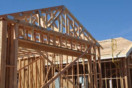 roof framework: New Home Under Construction