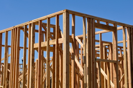 2x4 wood: New Home Frame Stock Photo