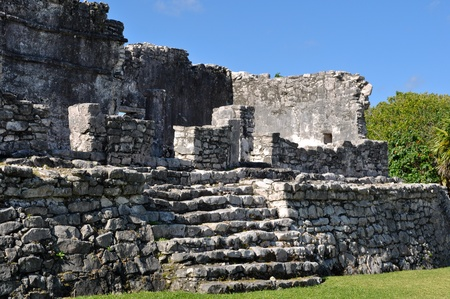 rock formations: Tulum Mexico Mayan Ruins Stock Photo