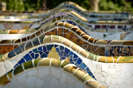 parc: BARCELONA - July 24: Park Guell, a municipal garden designed by Antoni Gaudi. Built in 1900 - 1914. part of the UNESCO World Heritage Site