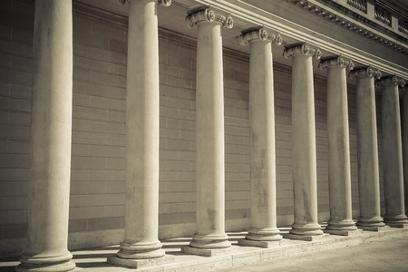ley: Los pilares de la Ley y la Justicia Foto de archivo