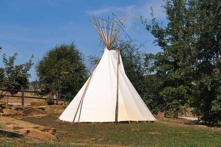 Teepee in the Forest with Blue Sky photo