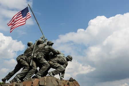 dc: WASHINGTON DC - AUGUST 20: Iwo Jima statue in Washington DC on August 20, 2012. The statue honors the Marines who have died defending the US since 1775.