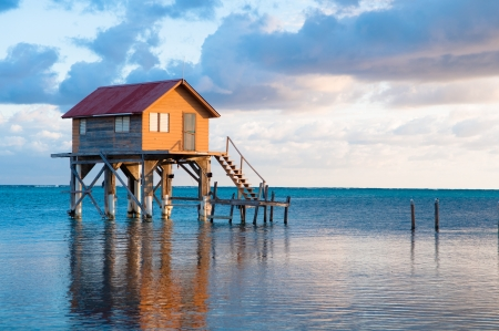 Home on the Ocean in Ambergris Caye Belize Stock Photo - 16376918