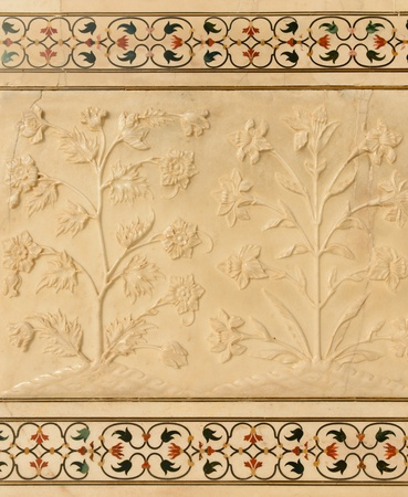 stone carving: Flowers carved into Taj Mahal Stock Photo