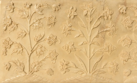 stone carving: Flowers Carved into the Taj Mahal Stock Photo