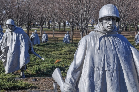 WASHINGTON DC - JANUARY 18: Korean War Memorial in the National Mall in Washington DC on January 18, 2012. The memorial was dedicated on July 27, 1995.