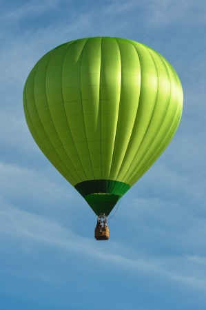 to inflate: Green Hot Air Balloon Stock Photo