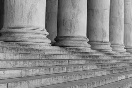 neo classical: Pillars and Steps in Black and White Stock Photo