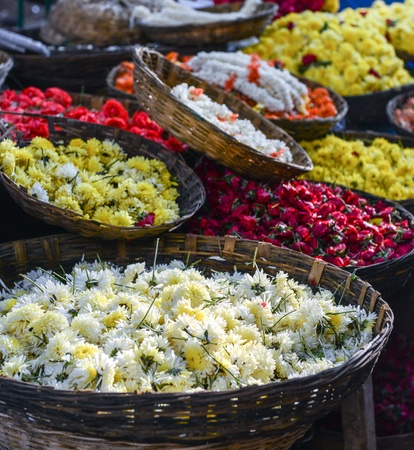 Mums and Roses for Sale in Indian Market photo