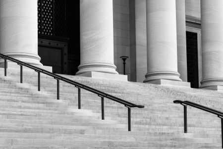 academia: Pillars and Stairs to a Courthouse Stock Photo