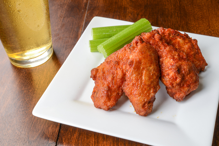 chicken fingers: Chicken Buffalo Wings and a Beer
