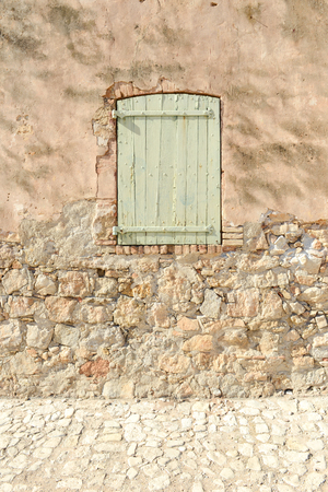 poorness: Green French Window Stock Photo