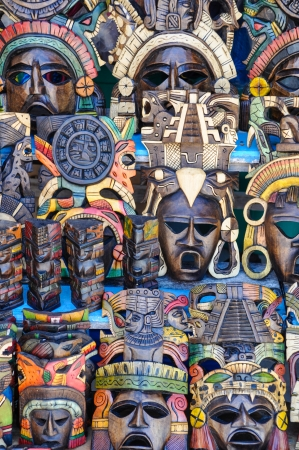 wood craft: Mayan Wooden Masks for Sale Stock Photo