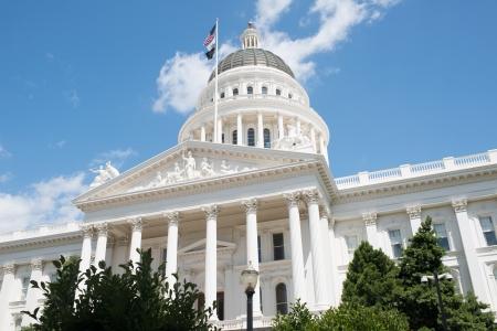 california flag: Sacramento State Capitol of California Building Editorial