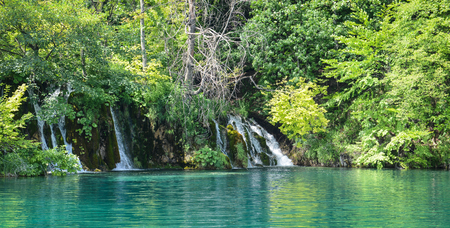 Waterfalls in Plitvice National Park in Croatia photo