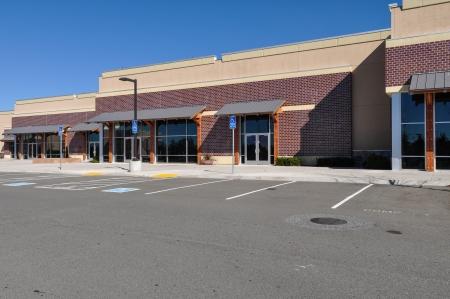 New Shopping Center der Backsteinfassade aus