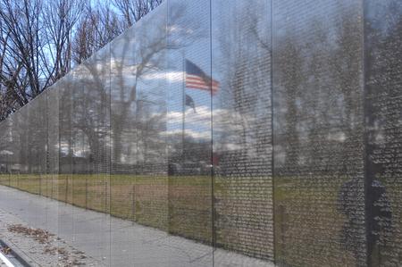 WASHINGTON DC -JANUARY 18: Names on Vietnam War Veterans Memorial on July 18, 2010 in Washington DC, USA. The memorial receives around 3 million visitors each year. Editorial