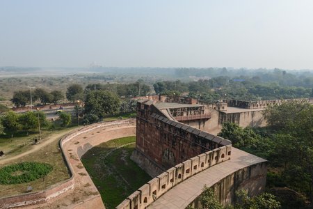 new delhi: Agra Fort with Taj Mahal in the Background