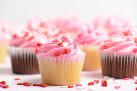 Pink Holiday Valentines Day Cupcakes photo