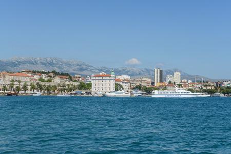 SPLIT, CROATIA - JULY 01: Jadrolinija ferries are docked in Split harbour on July 01, 2013 in Split, Croatia. Jadrolinija is Croatias largest ferry operator.