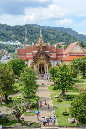 venerable: PHUKET, THAILAND - NOVEMBER 18: Wat Chalong is the most important of the 29 buddhist temples of Phuket, November 18, 2013 in Phuket, Thailand. It is dedicated to two highly venerable monks Editorial