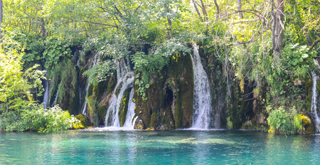 mount hood national forest: Waterfalls in Plitvice National Park in Croatia Stock Photo