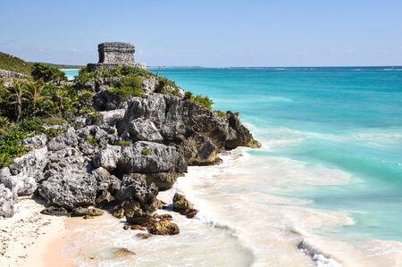 tulum: Tulum Mayan Ruins in Mexico Stock Photo