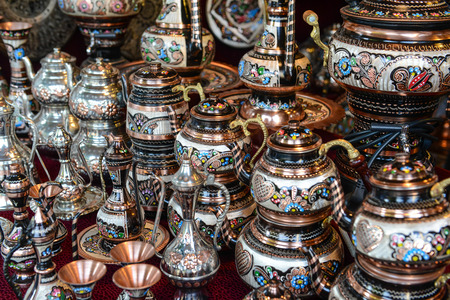 Turkish Teapots for Sale in Istanbul Turkey Reklamní fotografie