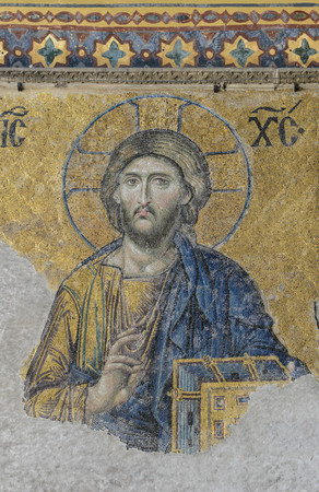 justinian: ISTANBUL, TURKEY - JULY 09: Jesus Christ, a Byzantine mosaic in the interior of Hagia Sophia, on July 09, 2014 in Istanbul. Editorial
