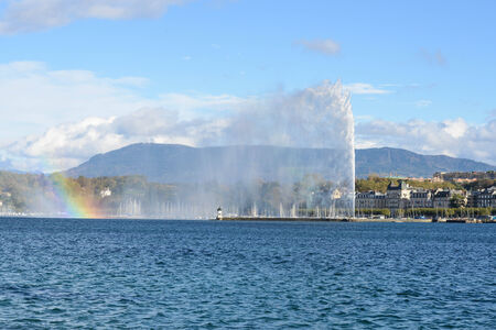 leman: Jet DEau fountain in Geneva and Lac Leman