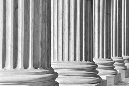 Pijlers van wet en informatie op het Hooggerechtshof van Verenigde Staten Stockfoto