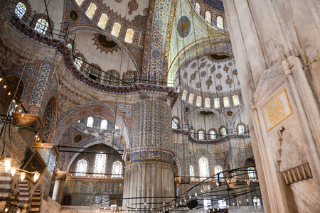 ISTANBUL, JUL 09: The interior of the Sultanahmet Mosque in Istanbul, Turkey on July 09, 2014. The mosque is commonly known as the Blue Mosque for its outside tile color.