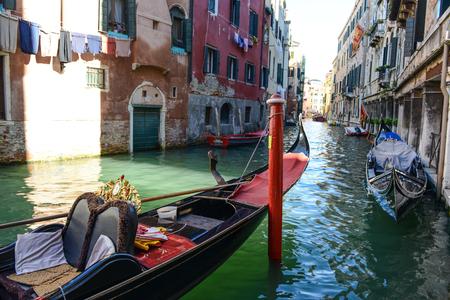 residential idyll: Venice Italy - Gondola and Buildings Stock Photo
