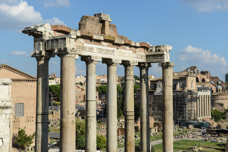 antiquity: ROME - OCT 19: Roman Forum on October 19, 2014 in Rome, Italy. The Roman Forum is an important monument of antiquity and is one of the main tourist attractions of Rome.