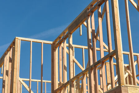 wooden joists: New Home Under Construction