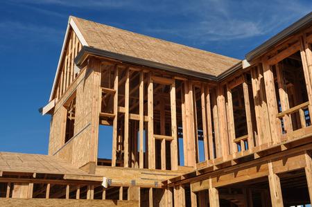 trabjando en casa: Casa Nueva en Construcción Foto de archivo