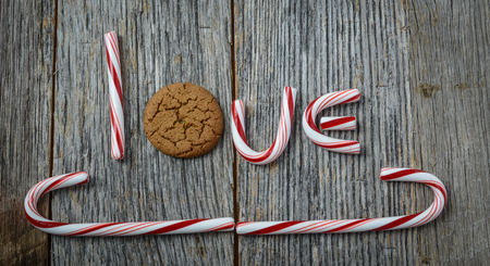 Candy Cane and Gingerbread cookie spelling the word love photo