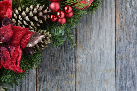 Christmas Decoration Over Wooden Background. Decorations over Rustic Wood