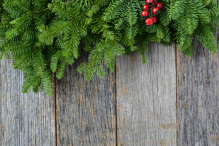 Tree branch with Holly Berry on rustic wooden background used for christmas decoration Imagens