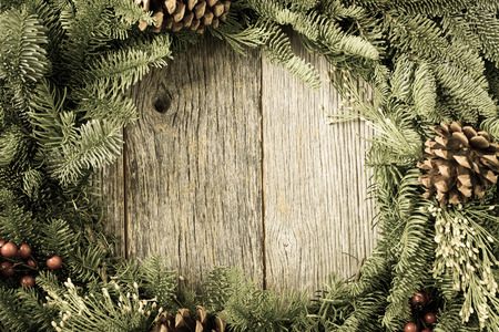 Christmas Wreath with Rustic Wood Background