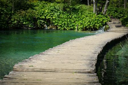 plitvice: Wooden Bridge over a Pond in Plitvice National Park