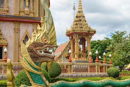 buddhist temple: Dragon at Wat Chalong in Phuket