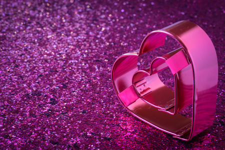 Pink Heart with Glitter Background for Valentines Day photo