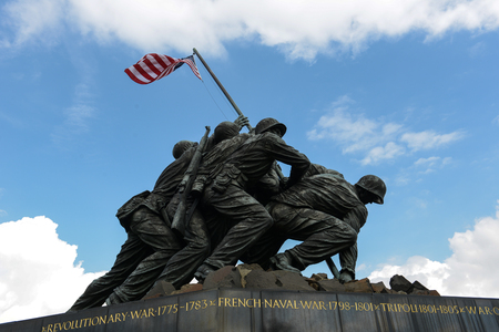 corps: WASHINGTON DC - AUGUST 20: Iwo Jima statue in Washington DC on August 20, 2012. The statue honors the Marines who have died defending the US since 1775.
