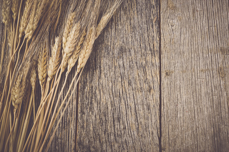 Wheat Ears on the Wood Background Stok Fotoğraf