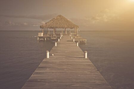 palapa: Vintage Beach Deck with Palapa floating in the water