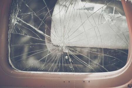 abandoned house window: Retro Cracked Window Stock Photo